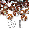 Bead, Swarovski crystal, Crystal Passions®, crystal copper, 10x3.5mm faceted marguerite lochrose flower (3700). Sold per pkg of 144 (1 gross).