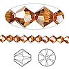 Bead, Swarovski crystal, Crystal Passions®, crystal copper, 5mm Xilion bicone (5328). Sold per pkg of 24.