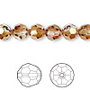 Bead, Swarovski crystal, Crystal Passions®, crystal copper, 8mm faceted round (5000). Sold per pkg of 12.