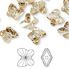Bead, Swarovski crystal, Crystal Passions®, crystal golden shadow, 10x9mm faceted butterfly (5754). Sold per pkg of 48.