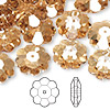 Bead, Swarovski crystal, Crystal Passions®, crystal golden shadow, 14x5mm faceted marguerite lochrose flower (3700). Sold per pkg of 144 (1 gross).