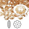 Bead, Swarovski crystal, Crystal Passions®, crystal golden shadow, 8x3mm faceted marguerite lochrose flower (3700). Sold per pkg of 144 (1 gross).