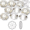 Bead, Swarovski crystal, Crystal Passions®, crystal silver shade, 12x4mm faceted marguerite lochrose flower (3700). Sold per pkg of 12.