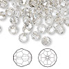 Bead, Swarovski crystal, Crystal Passions®, crystal silver shade, 6mm faceted round (5000). Sold per pkg of 144 (1 gross).