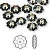 Bead, Swarovski crystal, Crystal Passions®, crystal tabac, foil back, 10x3.5mm faceted marguerite lochrose flower (3700). Sold per pkg of 12.