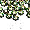 Bead, Swarovski crystal, Crystal Passions®, crystal vitrail medium, 10x3.5mm faceted marguerite lochrose flower (3700). Sold per pkg of 144 (1 gross).