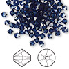 Bead, Swarovski crystal, Crystal Passions®, dark indigo, 4mm Xilion bicone (5328). Sold per pkg of 144 (1 gross).