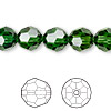 Bead, Swarovski crystal, Crystal Passions®, dark moss green, 10mm faceted round (5000). Sold per pkg of 2.