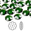 Bead, Swarovski crystal, Crystal Passions®, dark moss green, 10x3.5mm faceted marguerite lochrose flower (3700). Sold per pkg of 12.