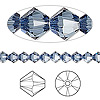 Bead, Swarovski crystal, Crystal Passions®, denim blue, 5mm Xilion bicone (5328). Sold per pkg of 24.
