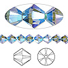 Bead, Swarovski crystal, Crystal Passions®, denim blue AB2X, 6mm Xilion bicone (5328). Sold per pkg of 144 (1 gross).