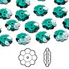 Bead, Swarovski crystal, Crystal Passions®, emerald, 10x3.5mm faceted marguerite lochrose flower (3700). Sold per pkg of 12.