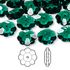 Bead, Swarovski crystal, Crystal Passions®, emerald, 12x4mm faceted marguerite lochrose flower (3700). Sold per pkg of 144 (1 gross).