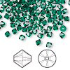 Bead, Swarovski crystal, Crystal Passions®, emerald, 4mm Xilion bicone (5328). Sold per pkg of 144 (1 gross).