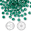 Bead, Swarovski crystal, Crystal Passions®, emerald, 4mm faceted round (5000). Sold per pkg of 144 (1 gross).
