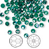 Bead, Swarovski crystal, Crystal Passions®, emerald AB, 4mm faceted round (5000). Sold per pkg of 144 (1 gross).