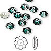 Bead, Swarovski crystal, Crystal Passions®, emerald, foil back, 8x3mm faceted marguerite lochrose flower (3700). Sold per pkg of 144 (1 gross).