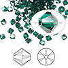 Bead, Swarovski crystal, Crystal Passions®, emerald satin, 4mm Xilion bicone (5328). Sold per pkg of 144 (1 gross).