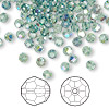 Bead, Swarovski crystal, Crystal Passions®, erinite AB, 4mm faceted round (5000). Sold per pkg of 144 (1 gross).