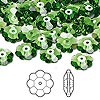 Bead, Swarovski crystal, Crystal Passions®, fern green, 10x3.5mm faceted marguerite lochrose flower (3700). Sold per pkg of 144 (1 gross).