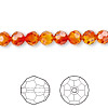 Bead, Swarovski crystal, Crystal Passions®, fireopal, 6mm faceted round (5000). Sold per pkg of 12.