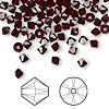Bead, Swarovski crystal, Crystal Passions®, garnet, 4mm Xilion bicone (5328). Sold per pkg of 144 (1 gross).
