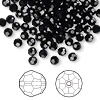Bead, Swarovski crystal, Crystal Passions®, jet, 4mm faceted round (5000). Sold per pkg of 12.