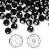 Bead, Swarovski crystal, Crystal Passions®, jet, 6mm faceted round (5000). Sold per pkg of 144 (1 gross).