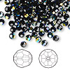Bead, Swarovski crystal, Crystal Passions®, jet AB, 4mm faceted round (5000). Sold per pkg of 144 (1 gross).