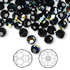 Bead, Swarovski crystal, Crystal Passions®, jet AB, 6mm faceted round (5000). Sold per pkg of 144 (1 gross).