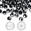 Bead, Swarovski crystal, Crystal Passions®, jet hematite 2X, 6mm faceted round (5000). Sold per pkg of 144 (1 gross).