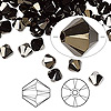 Bead, Swarovski crystal, Crystal Passions®, jet nut 2X, 6mm Xilion bicone (5328). Sold per pkg of 144 (1 gross).