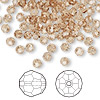 Bead, Swarovski crystal, Crystal Passions®, light Colorado topaz, 4mm faceted round (5000). Sold per pkg of 144 (1 gross).