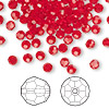 Bead, Swarovski crystal, Crystal Passions®, light Siam, 4mm faceted round (5000). Sold per pkg of 144 (1 gross).