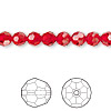 Bead, Swarovski crystal, Crystal Passions®, light Siam, 6mm faceted round (5000). Sold per pkg of 12.