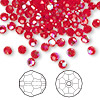 Bead, Swarovski crystal, Crystal Passions®, light Siam AB, 4mm faceted round (5000). Sold per pkg of 144 (1 gross).