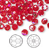 Bead, Swarovski crystal, Crystal Passions®, light Siam AB, 6mm faceted round (5000). Sold per pkg of 144 (1 gross).