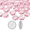 Bead, Swarovski crystal, Crystal Passions®, light rose, 10x3.5mm faceted marguerite lochrose flower (3700). Sold per pkg of 12.