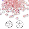 Bead, Swarovski crystal, Crystal Passions®, light rose AB, 4mm Xilion bicone (5328). Sold per pkg of 144 (1 gross).