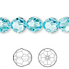 Bead, Swarovski crystal, Crystal Passions®, light turquoise, 10mm faceted round (5000). Sold per pkg of 2.