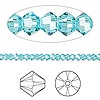 Bead, Swarovski crystal, Crystal Passions®, light turquoise, 3mm Xilion bicone (5328). Sold per pkg of 144 (1 gross).