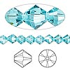 Bead, Swarovski crystal, Crystal Passions®, light turquoise, 6mm Xilion bicone (5328). Sold per pkg of 144 (1 gross).