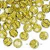 Bead, Swarovski crystal, Crystal Passions®, lime, 8mm faceted round (5000). Sold per pkg of 144 (1 gross).