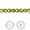 Bead, Swarovski crystal, Crystal Passions®, olivine, 6mm faceted round (5000). Sold per pkg of 12.