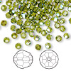Bead, Swarovski crystal, Crystal Passions®, olivine AB, 4mm faceted round (5000). Sold per pkg of 144 (1 gross).