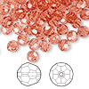 Bead, Swarovski crystal, Crystal Passions®, padparadscha, 6mm faceted round (5000). Sold per pkg of 144 (1 gross).