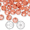 Bead, Swarovski crystal, Crystal Passions®, padparadscha, 8mm faceted round (5000). Sold per pkg of 144 (1 gross).