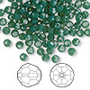 Bead, Swarovski crystal, Crystal Passions®, palace green opal, 4mm faceted round (5000). Sold per pkg of 144 (1 gross).