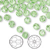 Bead, Swarovski crystal, Crystal Passions®, peridot, 6mm faceted round (5000). Sold per pkg of 144 (1 gross).
