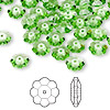 Bead, Swarovski crystal, Crystal Passions®, peridot, 8x3mm faceted marguerite lochrose flower (3700). Sold per pkg of 144 (1 gross).